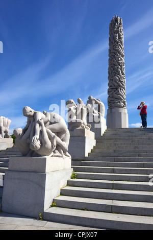 Monolith, by Gustav Vigeland, sculptures in granite in Vigeland Sculpture Park, Frognerparken, Oslo, Norway, Europe - Stock Photo
