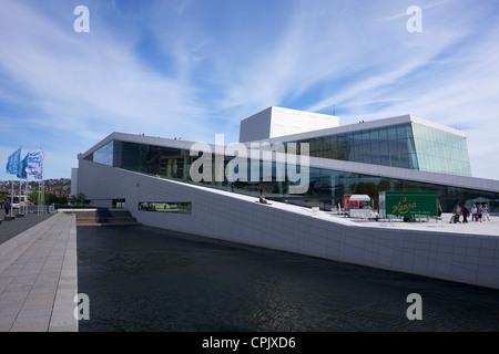 Oslo Opera house exterior in summer sunshine, city centre, Norway, Europe - Stock Photo