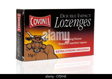 Box of Covonia double impact lozenges - Stock Photo