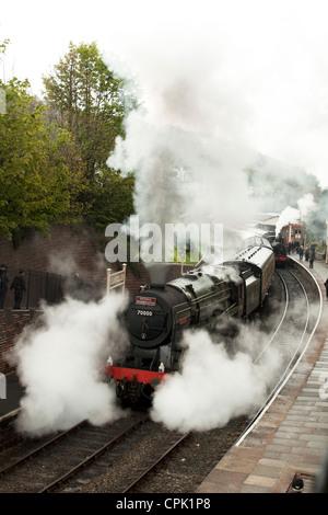 Britannia Locomotive at Llangollen Steam and Beer Festival April 2012 - Stock Photo