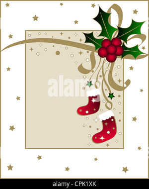 Christmas holly with ribbon - Stock Photo