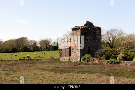 The Tower House in the village of Angle which is a Pele Tower - Stock Photo