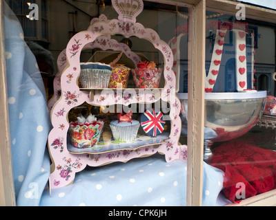 Queens 60th Diamond Jubilee 2012 in Heavenly shop window display Llandeilo Wales UK - Stock Photo