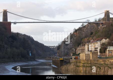 Brunel's landmark Clifton suspension bridge over the Avon Gorge at low tide in midwinter UK - Stock Photo
