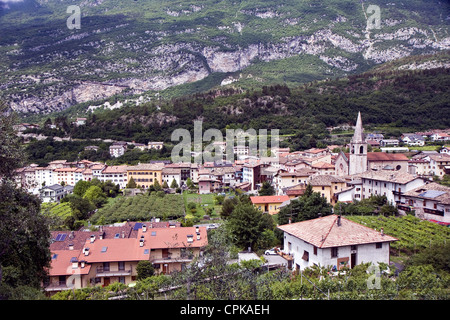 Typical village in the northern Italy mountains next to the city Trento - Stock Photo