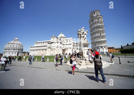 THE BAPTISTERY ST. MARY'S CATHEDRAL & LEANING TOWER PISA TUSCANY ITALY 11 May 2012 - Stock Photo