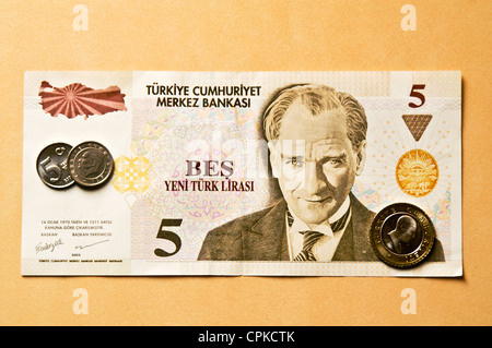 Currency of Turkey (Turkish lira) - Stock Photo