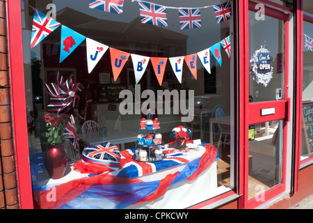 Queens 60th Jubilee window display in a cupcake shop Cardiff 2012 - Stock Photo