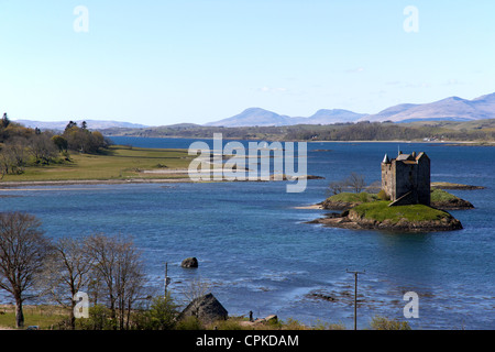 loch laich off loch linnhe with castle stalker in argyll scotland - Stock Photo