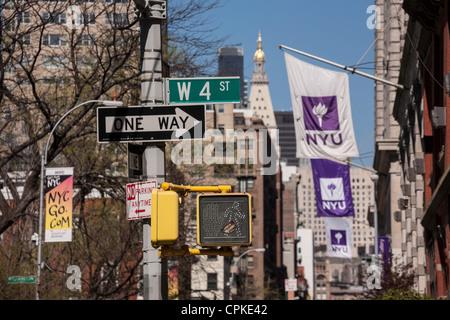 Street Signs and Flags, NYU, Washington Square, NYC - Stock Photo