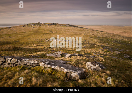 Showery Tor near Rough Tor or Roughtor on Bodmin Moor, Cornwall - Stock Photo