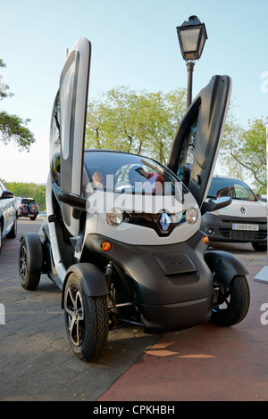 Renault Twizy (production unit) on the street with optional doors. - Stock Photo