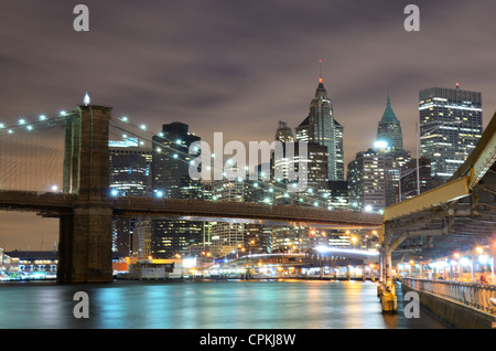 Famed Brooklyn Bridge Spanning the East River from Manhattan in New York City. - Stock Photo