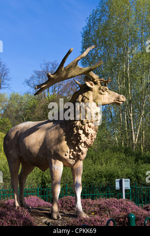 deer (related predecessor)  dinosaur statue at Crystal Palace park - Stock Photo