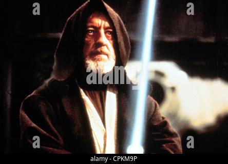 A portrait of Sir Alec Guinness in the 1977 film Star Wars. He is Ben Obi-Wan Kenobi. - Stock Photo