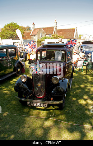 1937 Austin Ruby vintage car at outdoor classic car show, Yarmouth, Isle of Wight, 2012. - Stock Photo