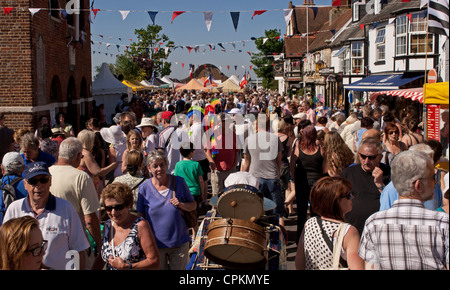 Street scene, crowd of people at the Old Gaffers Festival, local carnival, Yarmouth, Isle of Wight, 2012 - Stock Photo