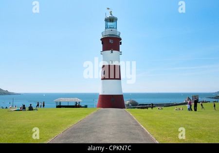 Red and white former lighthouse Smeaton's Tower on Plymouth Hoe, Devon, UK - Stock Photo
