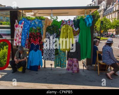 Paris, France, Public Events, neighborhood Attic Sale, Brocante, Vide Grenier, on Street, Woman Street Vendor, Display - Stock Photo