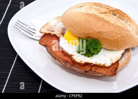 Roll with meat loaf and fried egg on a plate - Stock Photo