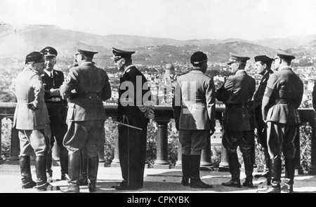 Adolf Hitler and Benito Mussolini in Italy, 1938 - Stock Photo
