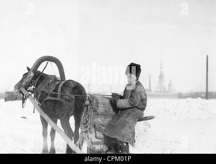 Horse-drawn sleigh on the Neva, 1906 - Stock Photo