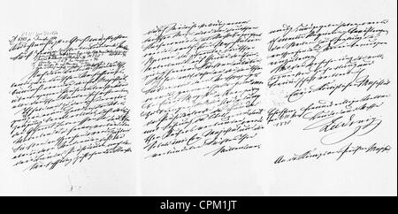 The 'Kaiserbrief' of King Ludwig II, 1870 - Stock Photo