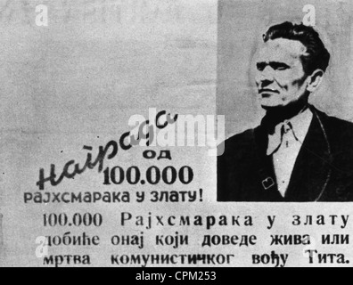 The wanted poster of Josip Broz Tito, 1943 - Stock Photo