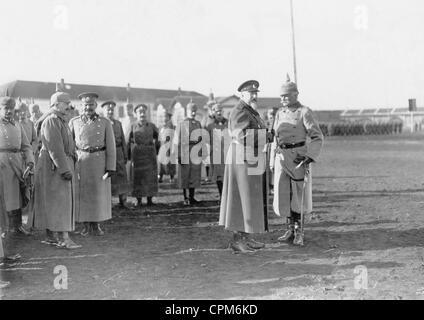 Wilhelm II, Ferdinand of Bulgaria and August von Mackensen in Nis, 1916 - Stock Photo
