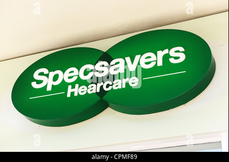 Specsavers Hearcare logo and sign Uk - Stock Photo