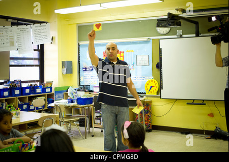 First and second grade Arabic class in New York - Stock Photo