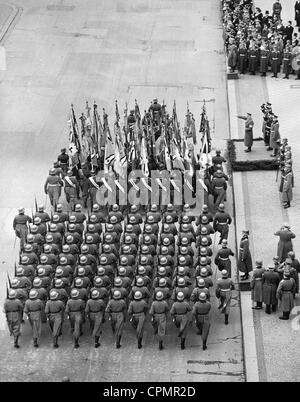 Adolf Hitler takes the salute on the Commemoration Day of Heroes, 1939 - Stock Photo