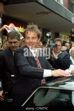 British Prime Minister Tony Blair visiting Wrexham Wales in 1997 - Stock Photo
