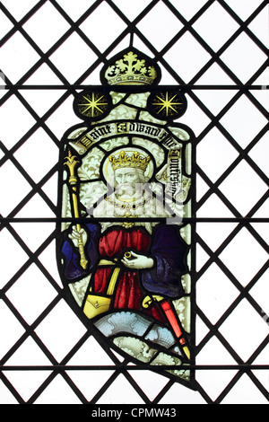 Stained glass window showing Saint Edward the Confessor at St Edmunds Church Southwold Suffolk England UK - Stock Photo
