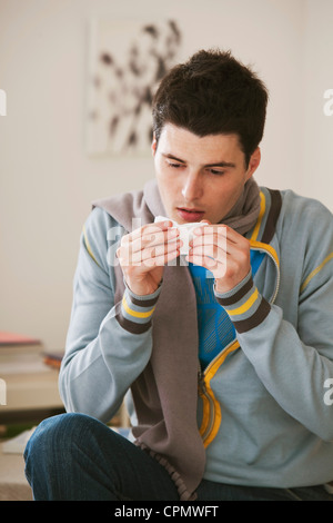 ADOLESCENT  WITH RHINITIS - Stock Photo