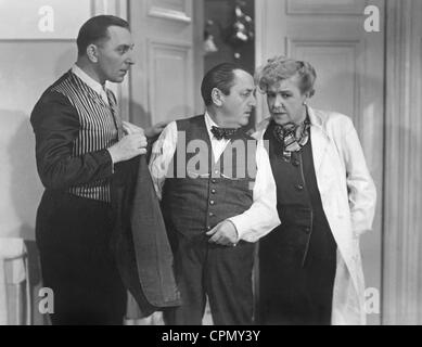 Theo Lingen, Hans Moser and Ida Wuest in 'Seven Years Hard Luck', 1940 - Stock Photo