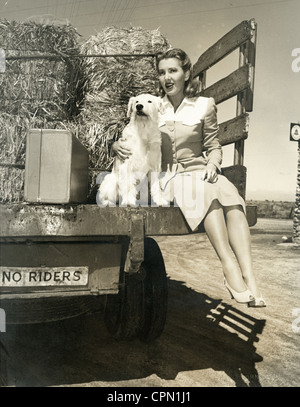 Pretty Woman & Dog Hitchhiking on Farm Truck - Stock Photo