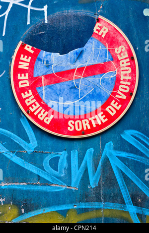 No parking sign in Rouen, France - Stock Photo