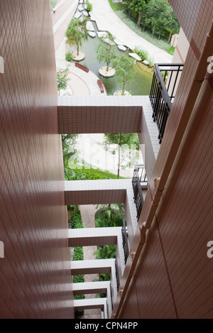 Repeating balconies on high rise building, cropped - Stock Photo