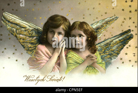 Christmas, 'Wesolych Swiat!' (Merry Christmas), two Christmas angel, Polish Christmas card, Poland, 1914, Additional - Stock Photo