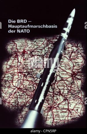 East-Germany, politics, propaganda, against the North Atlantic Treaty Organization (NATO), 'Die BRD - Hauptaufmarschbasis - Stock Photo