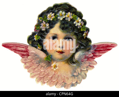 kitsch, little angel with blossom in hair, scrap-picture, lithograph, Germany, circa 1910, Additional-Rights-Clearences - Stock Photo