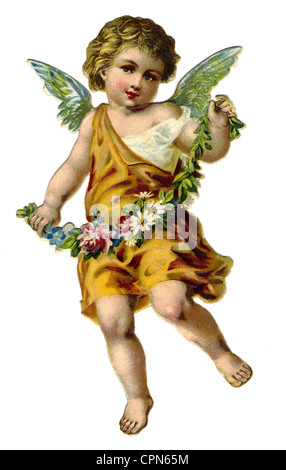 kitsch, angel with wreath, scrap-picture, lithograph, Germany, circa 1910, Additional-Rights-Clearences-NA - Stock Photo