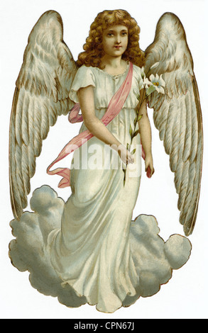 kitsch, angel, scrap-picture, lithograph, Germany, circa 1898, Additional-Rights-Clearences-NA - Stock Photo