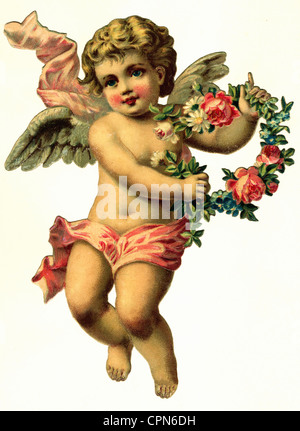 kitsch, little angel with wreath, scrap-picture, lithograph, Germany, 1897, Additional-Rights-Clearences-NA - Stock Photo