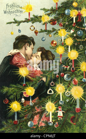 Christmas, cards, couple is kissing under the Christmas tree, postcard, Germany, 1905, Additional-Rights-Clearences - Stock Photo
