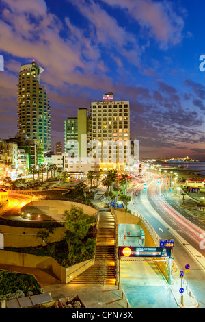 Middle East, Israel, Tel Aviv, elevated dusk view of the city beachfront - Stock Photo