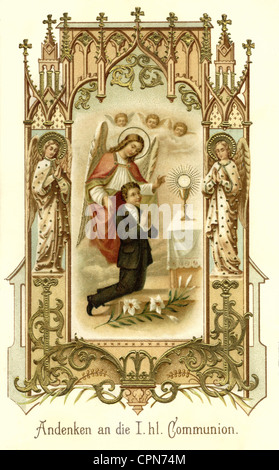 religion, Christianity, communion, souvenir to the first Holy communion, Germany, 1896, Additional-Rights-Clearences - Stock Photo