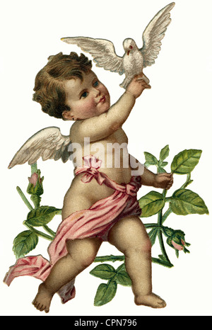 kitsch, little angel with dove, scrap-picture, Germany, circa 1899, Additional-Rights-Clearences-NA - Stock Photo