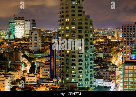 Middle East, Israel, Tel Aviv, elevated city view towards the commercial and business centre - Stock Photo